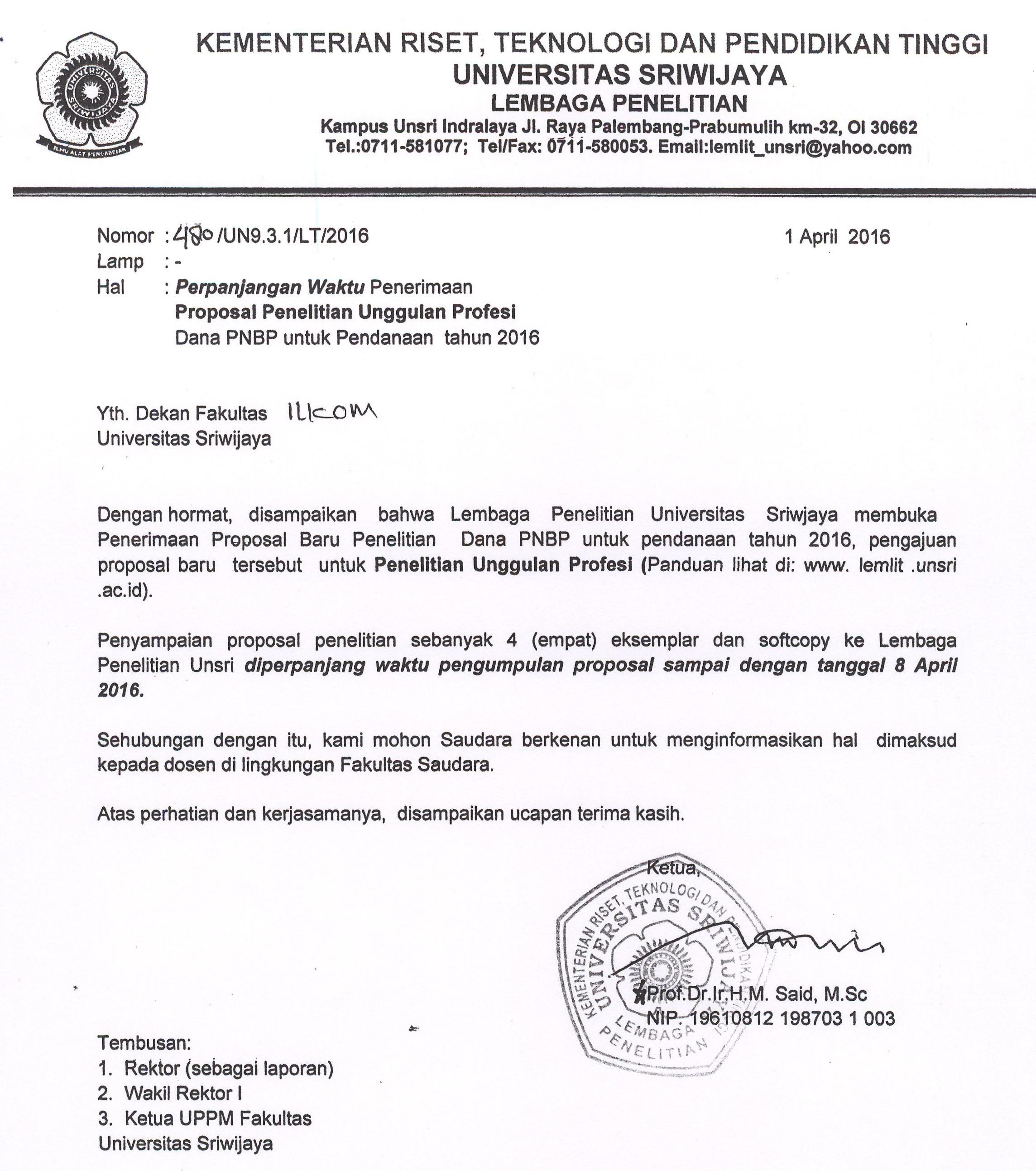 Perpanjangan Waktu Penerimaan Proposal Penelitian Unggulan Profesi Dana PNBP untuk Pendanaan tahun 2016